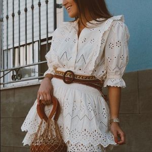 Zara embroidery top bloggers favorite